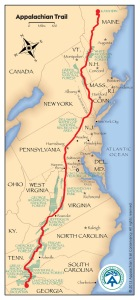 The Appalachian Trail 2180 miles from GA to ME