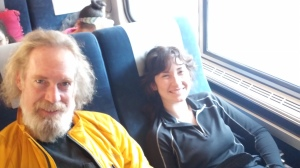 The first two thru-hikers I met, traveling on the train to Atlanta
