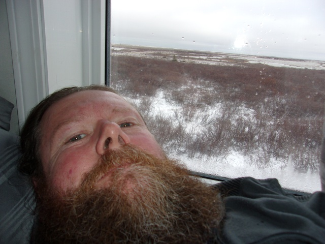 Laying in bed in the lodge with my view of the tundra