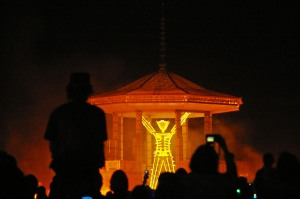 The burning of  the man at burning man