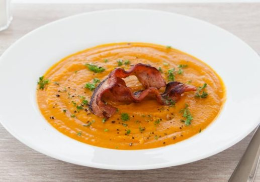 pumpkin, bacon, soup, fall
