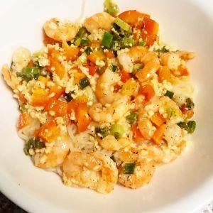 shirataki noodles, shrimp scampi